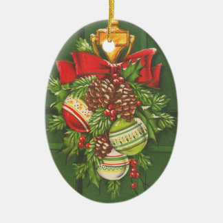Vintage Christmas Bauble Customizable Ceramic Oval Decoration