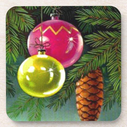 VIntage Christmas, Baubles and Pine Cones Coasters
