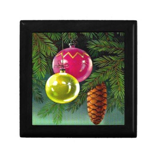 VIntage Christmas, Baubles and Pine Cones Keepsake Box
