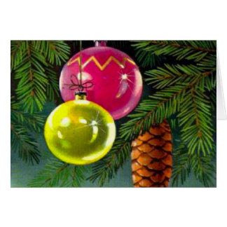 VIntage Christmas, Baubles and Pine Cones Greeting Card