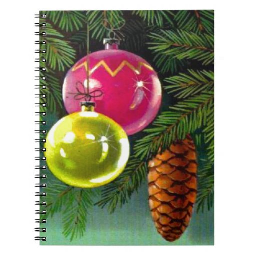 VIntage Christmas, Baubles and Pine Cones Note Book
