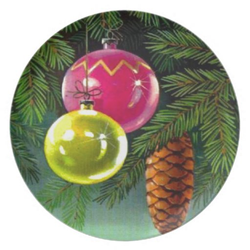 VIntage Christmas, Baubles and Pine Cones Plates