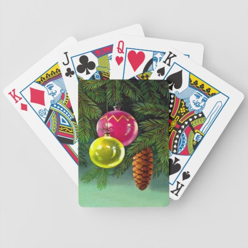 VIntage Christmas, Baubles and Pine Cones Poker Cards