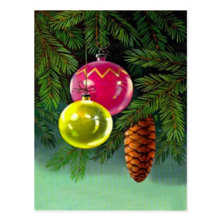VIntage Christmas, Baubles and Pine Cones Postcard