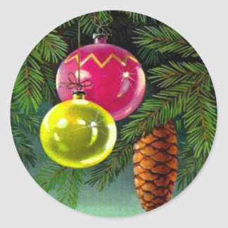 VIntage Christmas, Baubles and Pine Cones Round Sticker