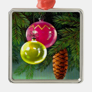 VIntage Christmas, Baubles and Pine Cones Silver-Colored Square Decoration