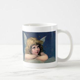 Vintage Christmas, Beautiful Angel with Gold Stars Coffee Mug