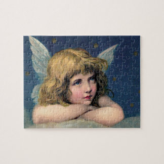 Vintage Christmas, Beautiful Angel with Gold Stars Jigsaw Puzzle