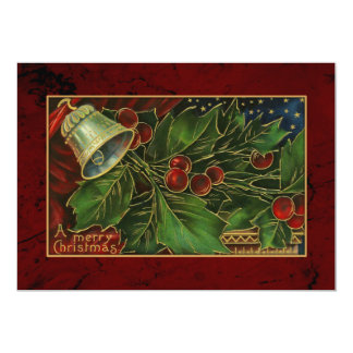 Vintage Christmas Bell and Holly 13 Cm X 18 Cm Invitation Card