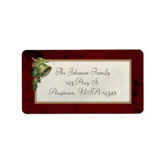 Vintage Christmas Bell and Holly Address Label