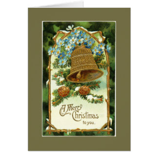 Vintage Christmas Bell and Pinecones Greeting Card