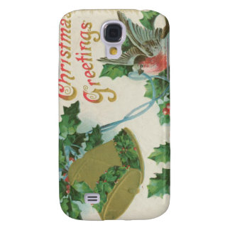 Vintage Christmas Bells and Bird Galaxy S4 Cases