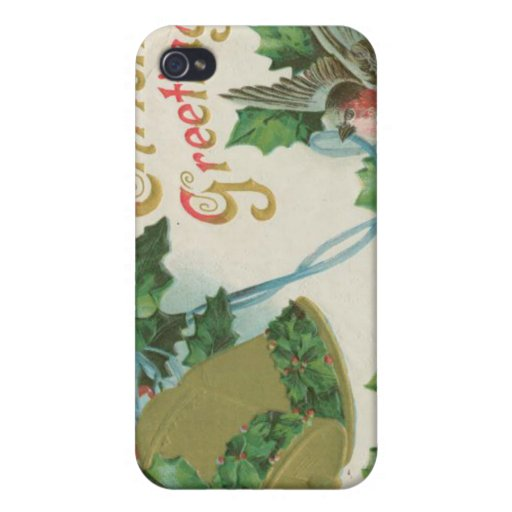 Vintage Christmas Bells and Bird Cases For iPhone 4