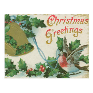 Vintage Christmas Bells and Bird Postcard