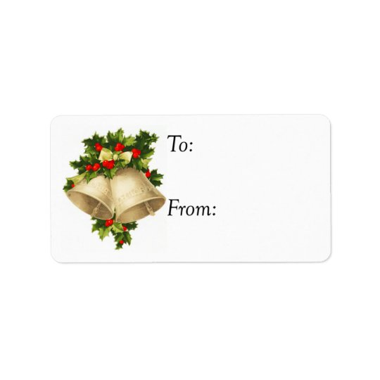 Vintage Christmas Bells and Holly Gift Tag