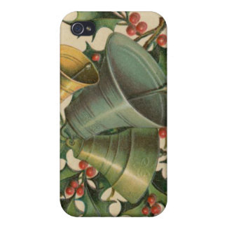 Vintage Christmas Bells and Holly iPhone 4/4S Case