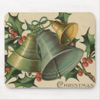 Vintage Christmas Bells and Holly Mouse Pad