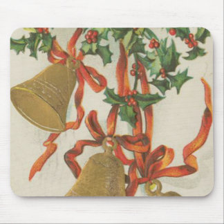 Vintage Christmas Bells and Ribbons Mouse Pad