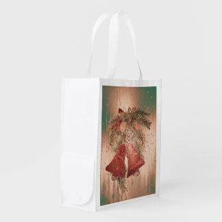 Vintage Christmas Bells Grocery Bag