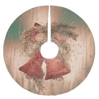 vintage christmas bells brushed polyester tree skirt