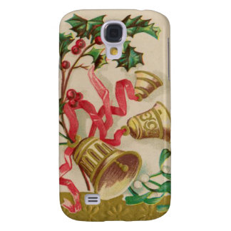 Vintage Christmas Bells Ribbons and Holly Samsung Galaxy S4 Cover
