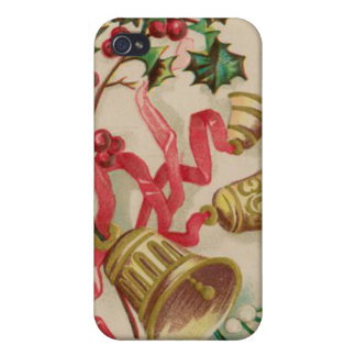 Vintage Christmas Bells Ribbons and Holly iPhone 4 Cover