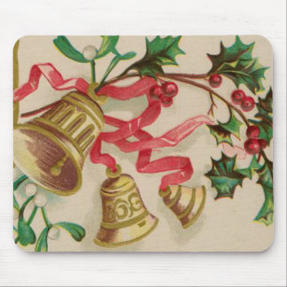 Vintage Christmas Bells, Ribbons and Holly Mouse Pad