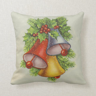 Vintage Christmas Bells Throw Pillow