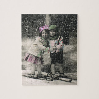 Vintage Christmas, Best Friends on Skis Jigsaw Puzzle