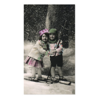 Vintage Christmas, Best Friends on Skis Pack Of Standard Business Cards