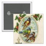 Vintage Christmas bird Holiday button