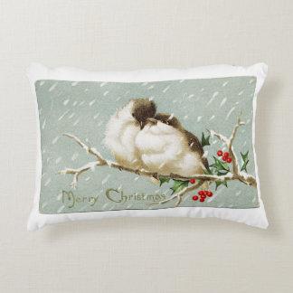 Vintage Christmas Birds Decorative Cushion