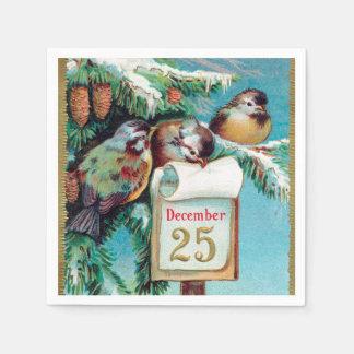 Vintage Christmas birds Holiday party napkins Disposable Serviette