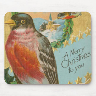 Vintage Christmas Birds Mouse Pad