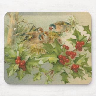 Vintage Christmas Birds Nest Mouse Pad
