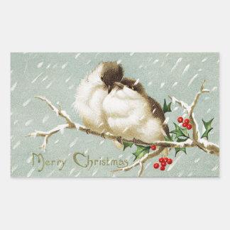 Vintage Christmas Birds Rectangular Sticker