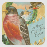Vintage Christmas Birds Square Sticker