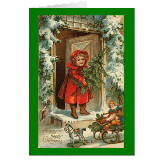 Vintage Christmas Blond Girl Greeting Card