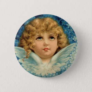 Vintage Christmas Blue Angel Cherub Child Brundage 6 Cm Round Badge