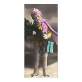 Vintage Christmas Boy Full Color Rack Card