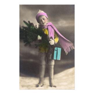 Vintage Christmas Boy Stationery Design