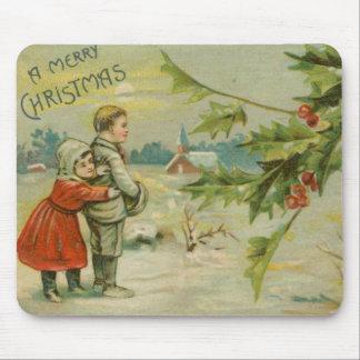 Vintage Christmas Bridge and Children Mouse Pad
