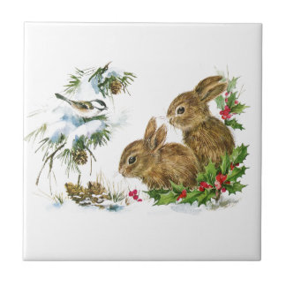 Vintage Christmas Bunnies in the Snow Tile