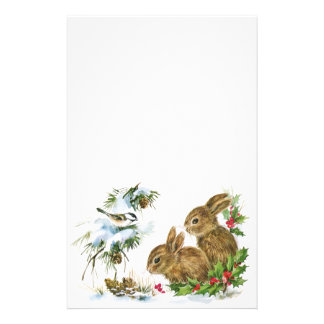 Vintage Christmas Bunnies Stationery