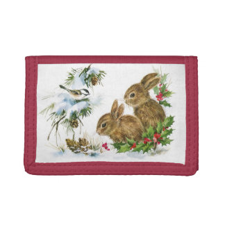 Vintage Christmas Bunnies Tri-fold Wallet