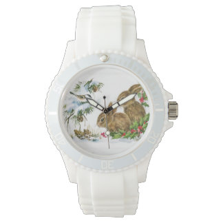 Vintage Christmas Bunnies Watch