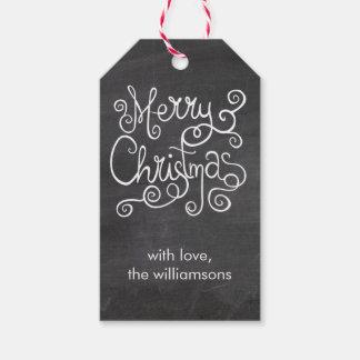 Vintage Christmas Calligraphy Swirl Chalkboard Gift Tags