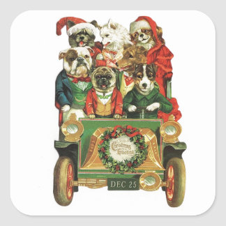 Vintage Christmas Car Load Of Dogs Square Sticker