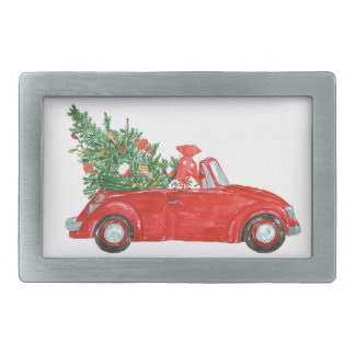 Vintage Christmas Car Rectangular Belt Buckles