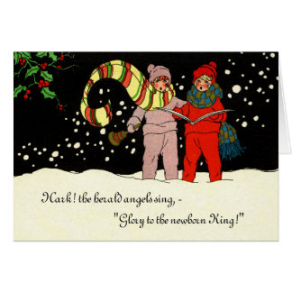 Vintage Christmas Card Carolers